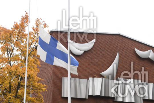 Finnish flag in half-mast at the at Savo Vocational College in Kuopio